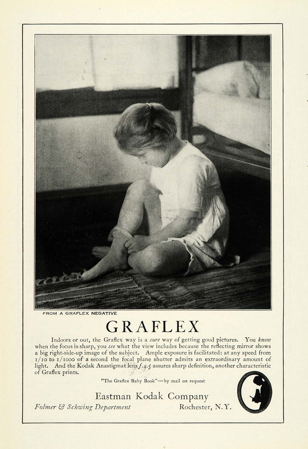 1922 Ad Eastman Kodak Co Rochester NY Graflex Negative Photo Child Camera NGM1