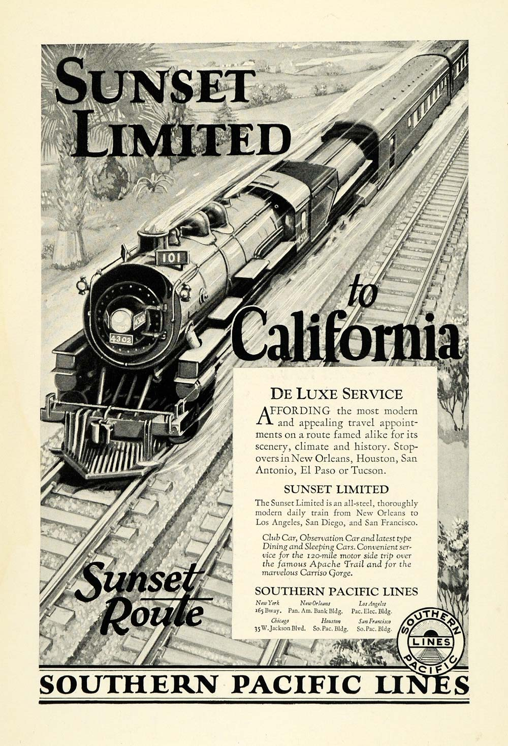1926 Ad Southern Pacific Lines Sunset Route Train Rail Tracks Travel NGM1