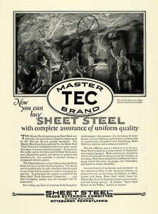 1926 Ad Master Tec Brand Sheet Steel Construction Factory Material Men NGM1