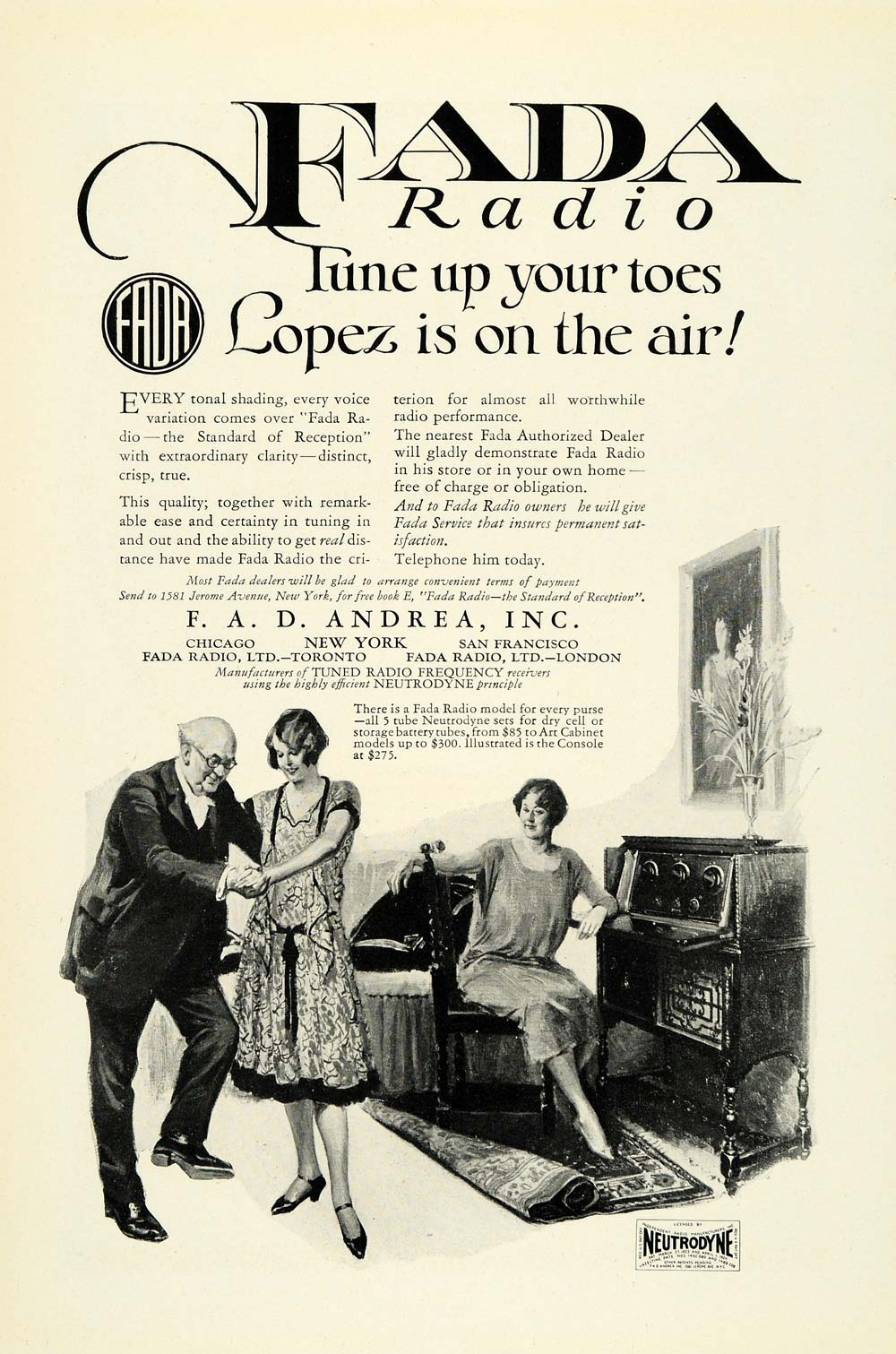1925 Ad Fada Radio F. A. D Andrea Chicago Music Player Neutrodyne Couple NGM1