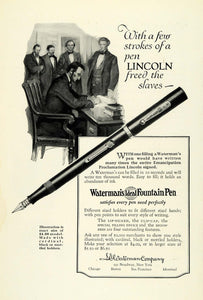 1925 Ad Waterman's Fountain Pen 16th US President Abraham Lincoln NGM1