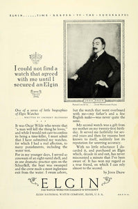 1925 Ad Elgin Actor John Drew Watches Jewelry National Watch Co Illinois NGM1