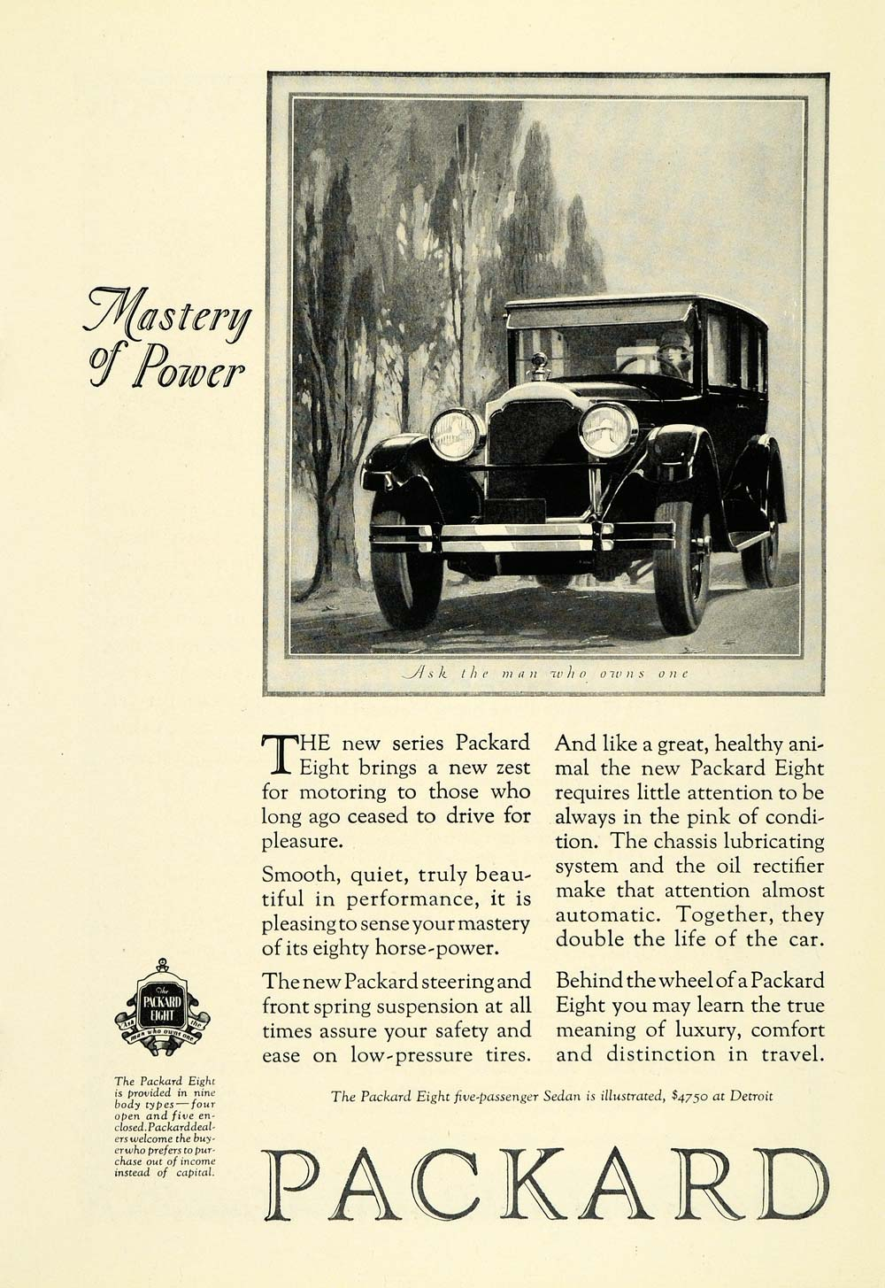1925 Ad Packard Automobile Eight Logo Vintage Car Woman Driving Motor NGM1