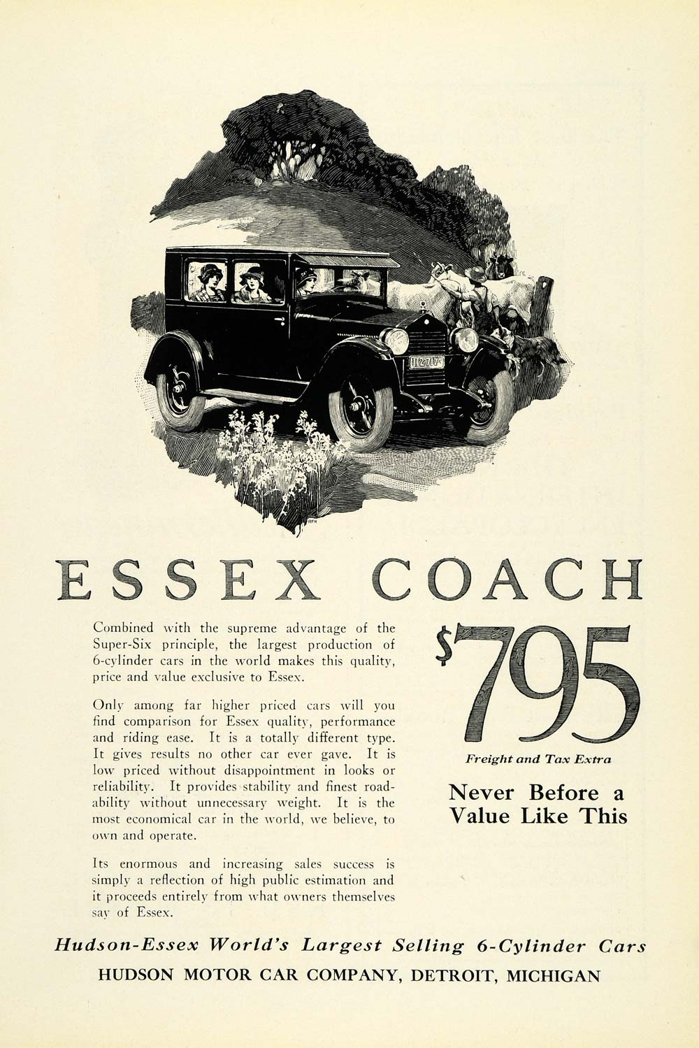 1925 Ad Hudson Motor Car Co Countryside Cattle Rough Collie Dog Vintage Car NGM1