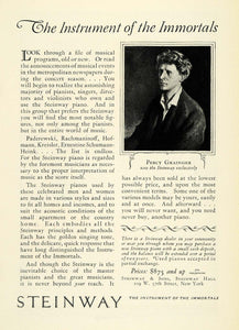 1925 Ad Pianist Percy Grainger Steinway Musical Instruments Piano NY NGM1
