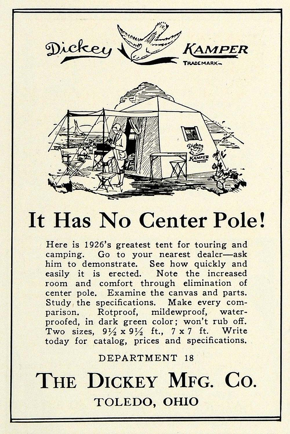 1926 Ad Dickey Mfg Co Toledo Kamper Camping Tent Equipment Accessories NGM1