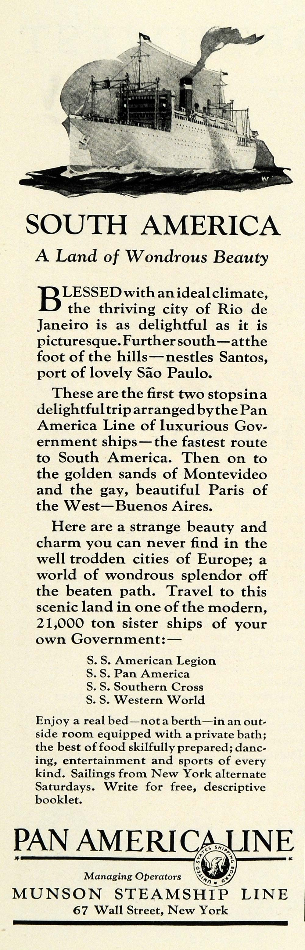 1925 Ad Pan America Line Munson Steamship Line South America Cruise Ship NGM1
