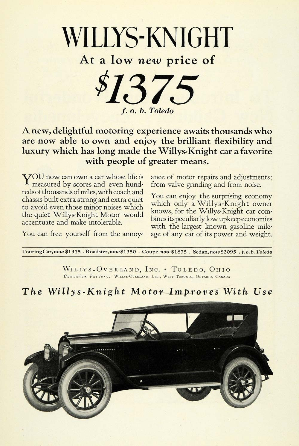 1922 Ad Willys Overland Motor Car Willys Knight Vehicle Model