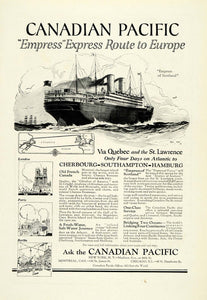 1922 Ad Canadian Pacific Cruise Empress Express Route Europe Ship Map NGM1