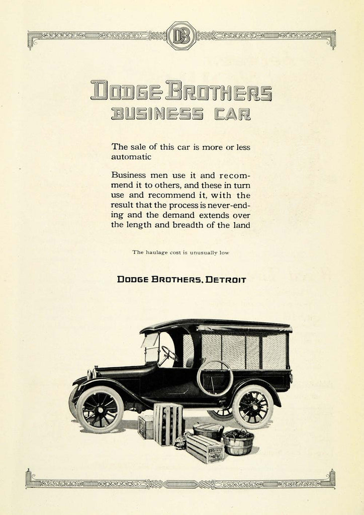 1921 Ad Dodge Brothers Detroit Vintage Automobile Fruit Vegetables ...