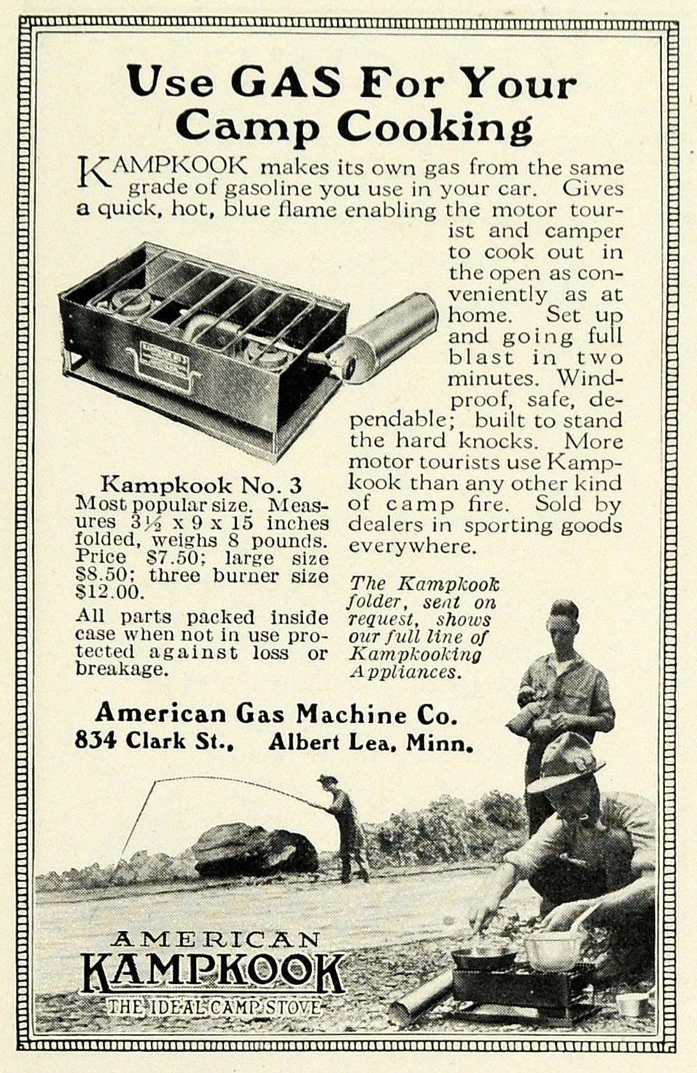 1922 Ad American Gas Machine Kampkook Camp Stove Range Camping Cooking NGM1