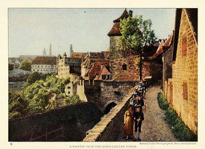 1926 Print Baviera City Rothenburg ob der Tauber Tower Germany Architecture NGM2