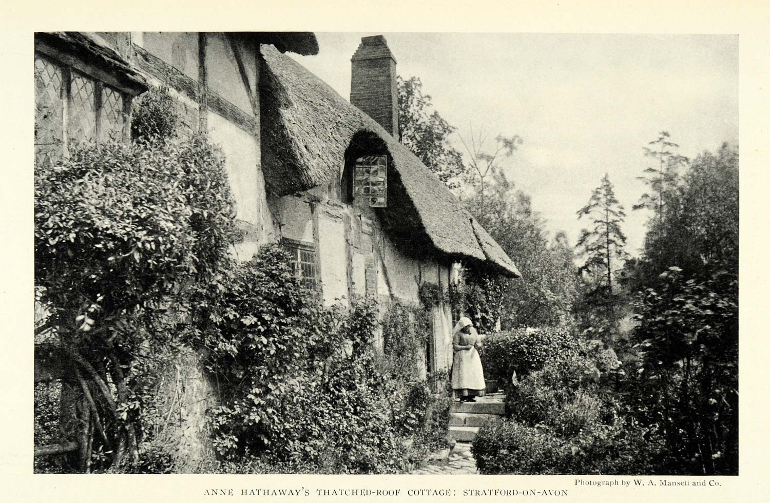 1922 Print Anne Hathaway Thatched Roof Cottage Home Stratford on Avon NGM2