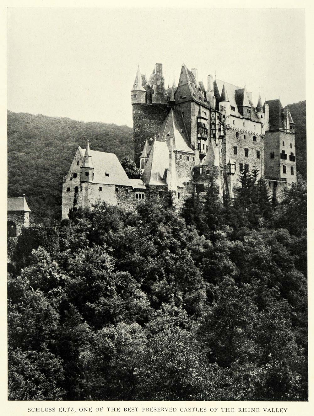 1922 Print Schloss Eltz Castle Germany Rhine Ancient Medieval Architecture NGM2