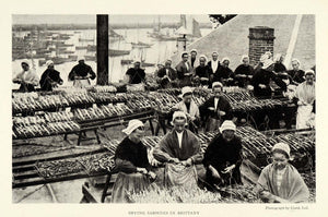1921 Print Brittany France Women Drying Fishermen Sardines Seafood Daily NGM2