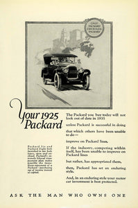 1925 Ad Antique Covered Convertible Packard Six Eight Ask the Man Who Owns NGM2