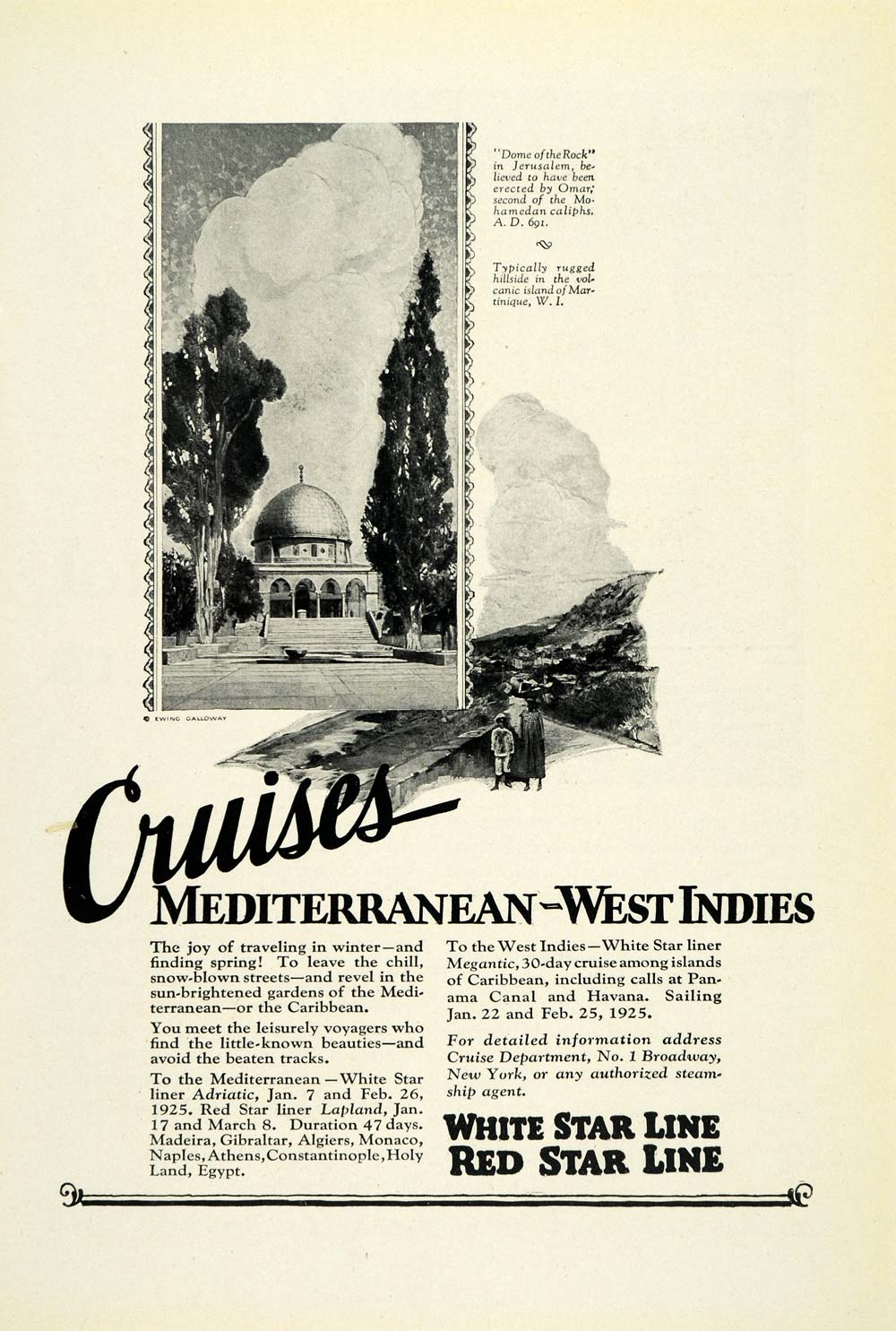 1924 Ad White Red Star Line Mediterranean West Indies Cruise Jerusalem Dome NGM2