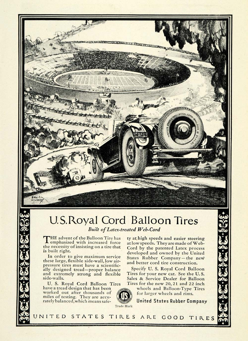 1924 Ad US Rubber Royal Cord Balloon Tires Antique Car Parts Edward ...