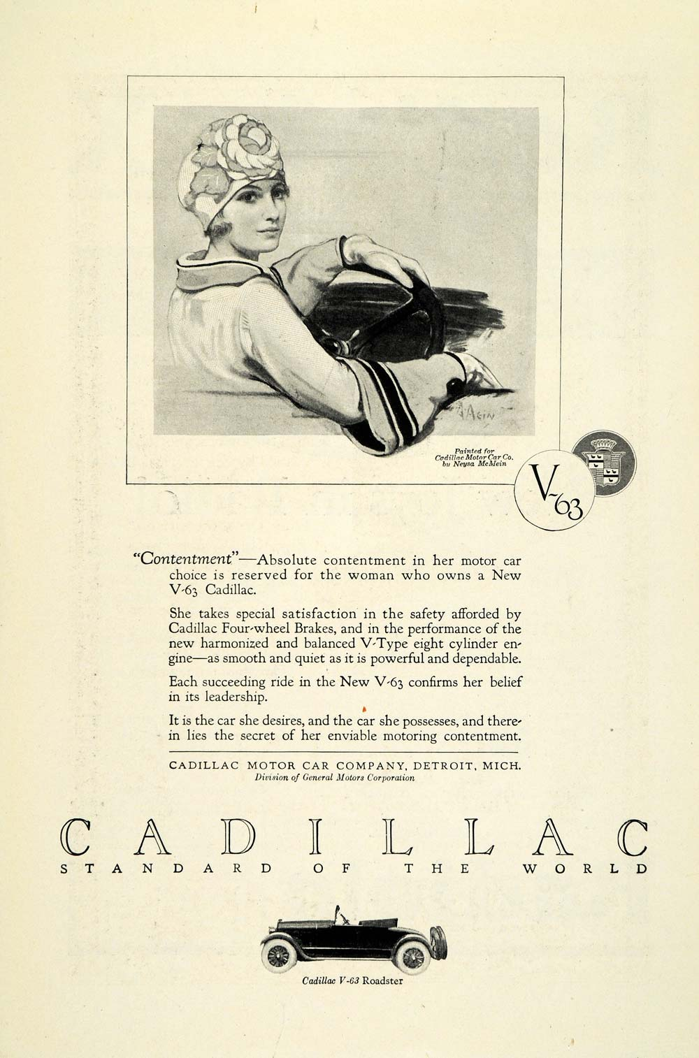 1924 Ad Antique Cadillac V63 Roadster Convertible Sports Car Neysa McMein NGM2