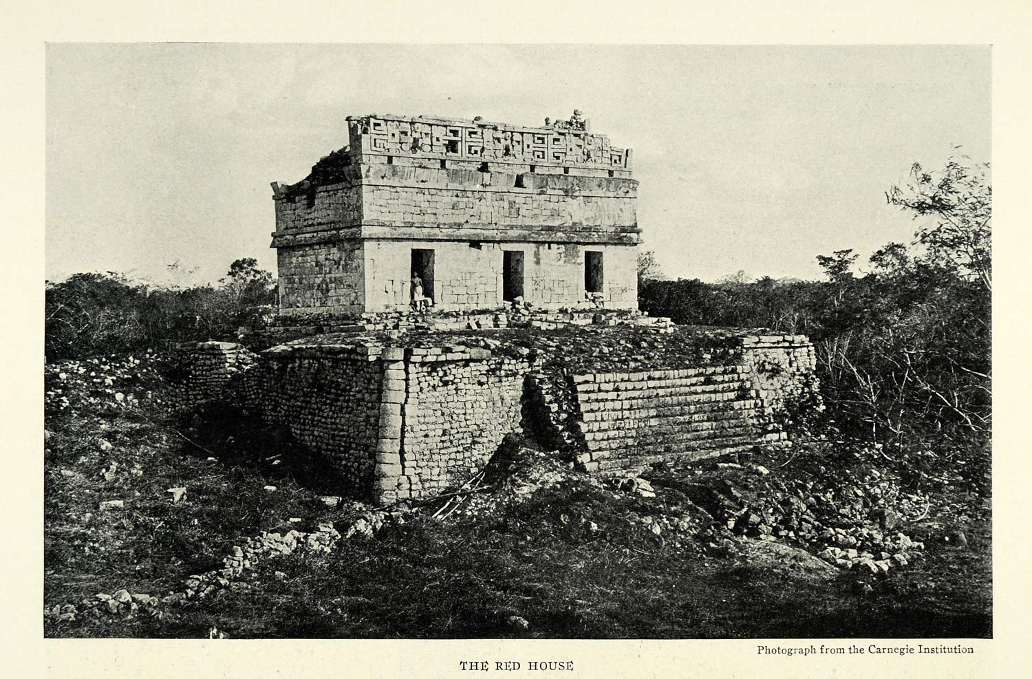 1925 Print Red House Casa Colorada Chichen Itza Mexico Archeology NGM2