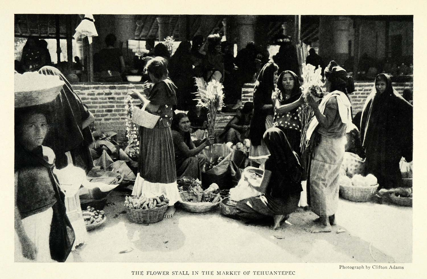 1924 Print Tehuantepec Tehuana Clifton Adams Market Mexico South America NGM2