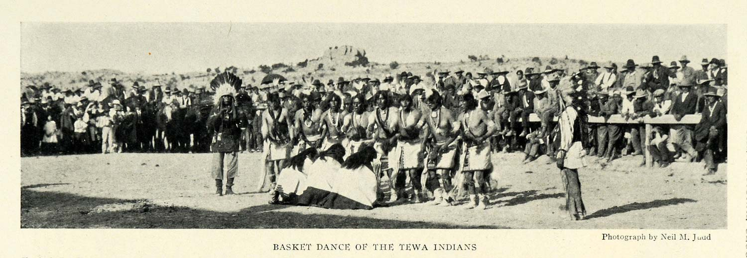 1924 Print Basket Dance Tewa Indians Gallup New Mexico Neil Judd Nude NGM2