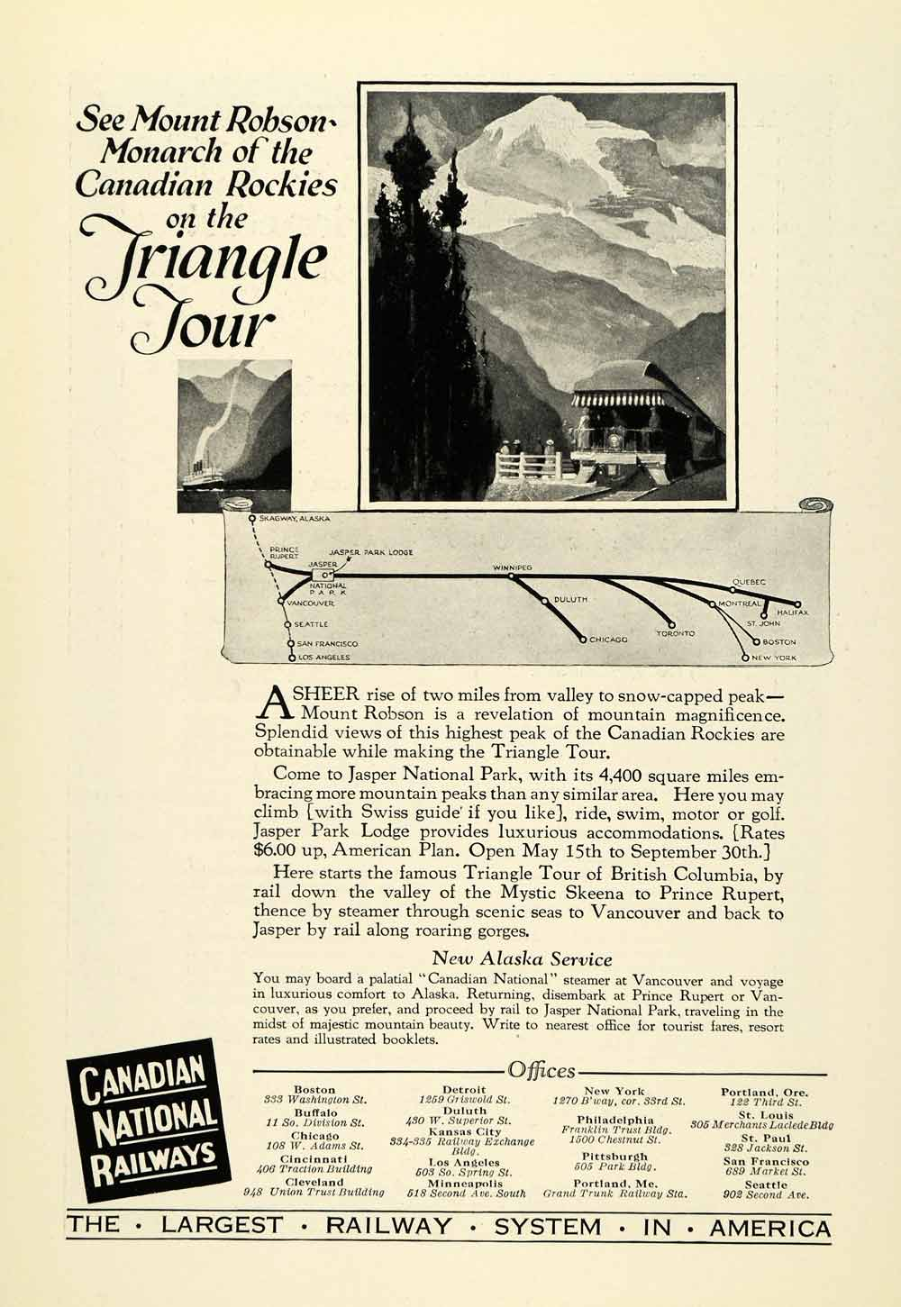 1925 Ad Canadian National Railway Triangle Tour Mount Robson Rockies Jasper NGM2