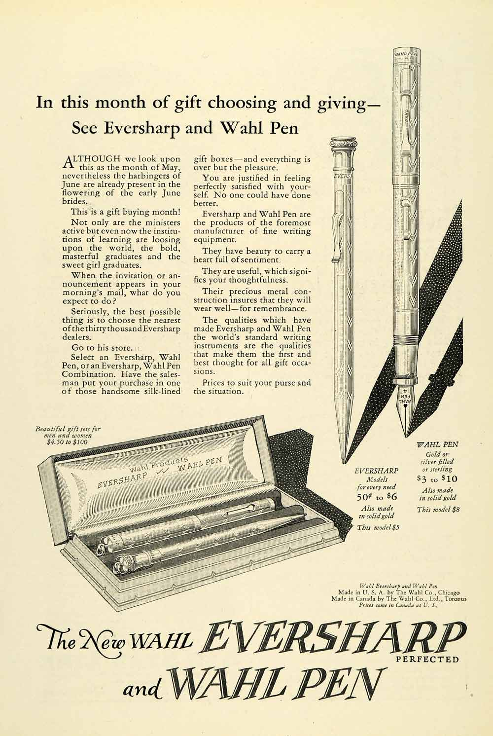 1925 Ad Eversharp Wahl Pen Fountain Pricing Writing Instrument NGM2