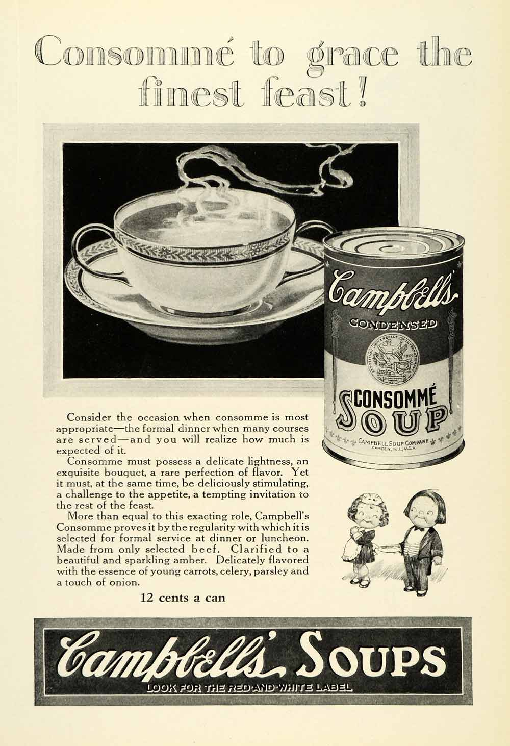 1925 Ad Campbell's Consomme Soup Joseph Advertising Food Advertisement Can NGM2