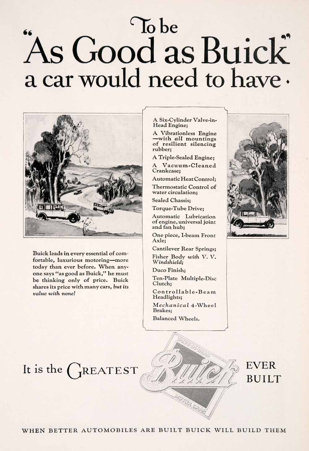 1926 Ad Buick Car Vehicle Transportation Duco Street Automobile Engine NGM3