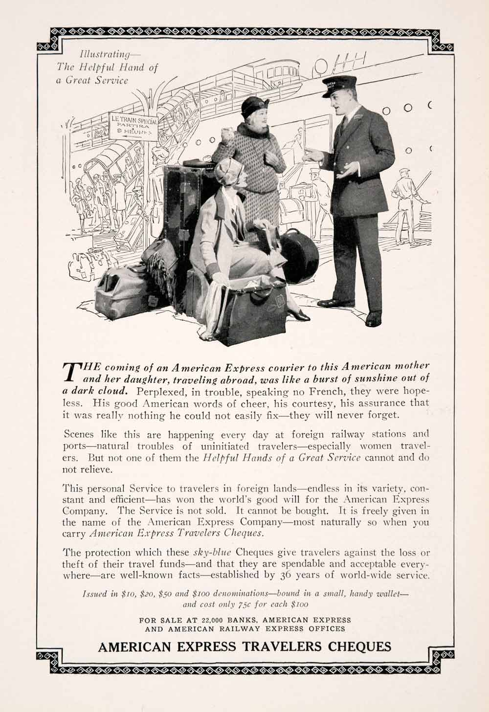 1927 Ad American Express Travelers Cheque Railway Travel Tourism Suitcase NGM3