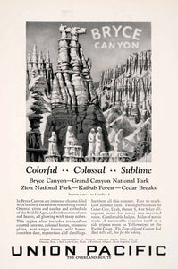 1927 Ad Union Pacific Overland Bryce Canyon Chasm Route Railroad Train NGM3