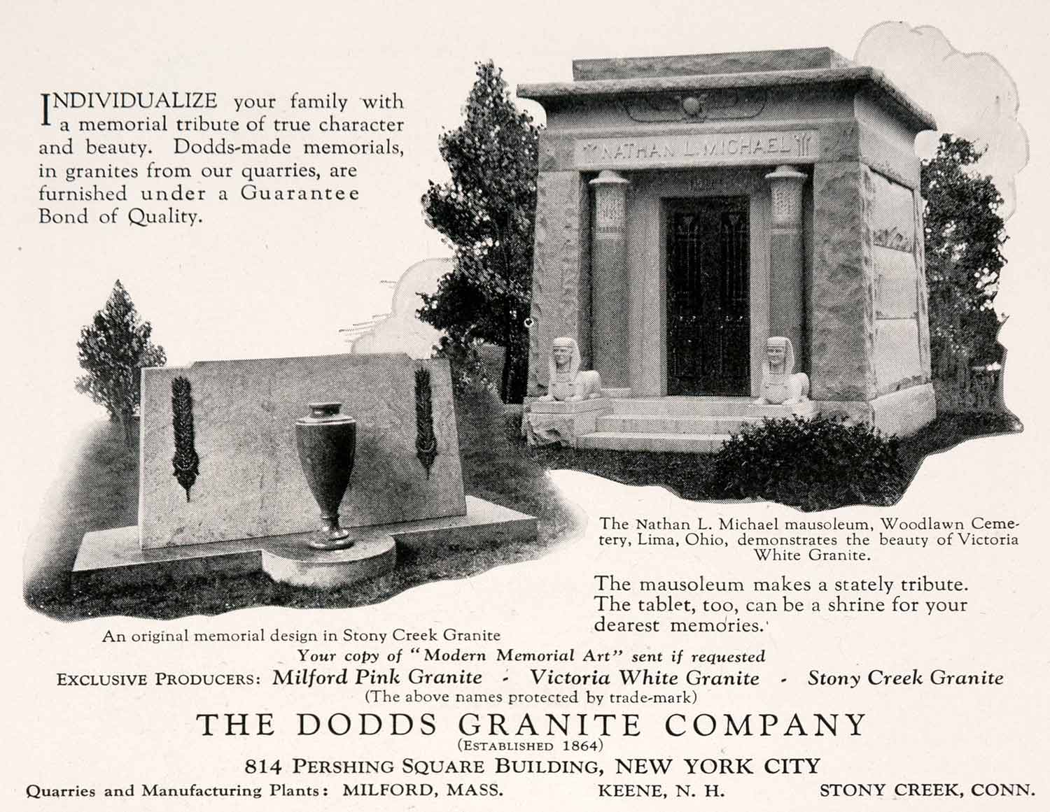 1927 Ad Dodds Granite Stony Creek Connecticut Nathan Michael Woodlawn NGM3