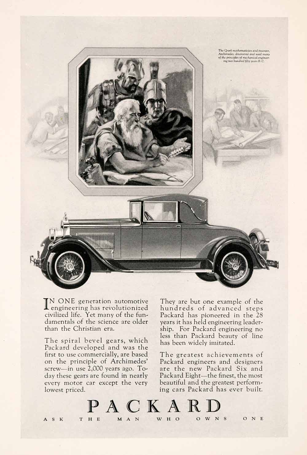 1927 Ad Packard Automobile Car Motor Vehicle Eight Six Archimedes ...