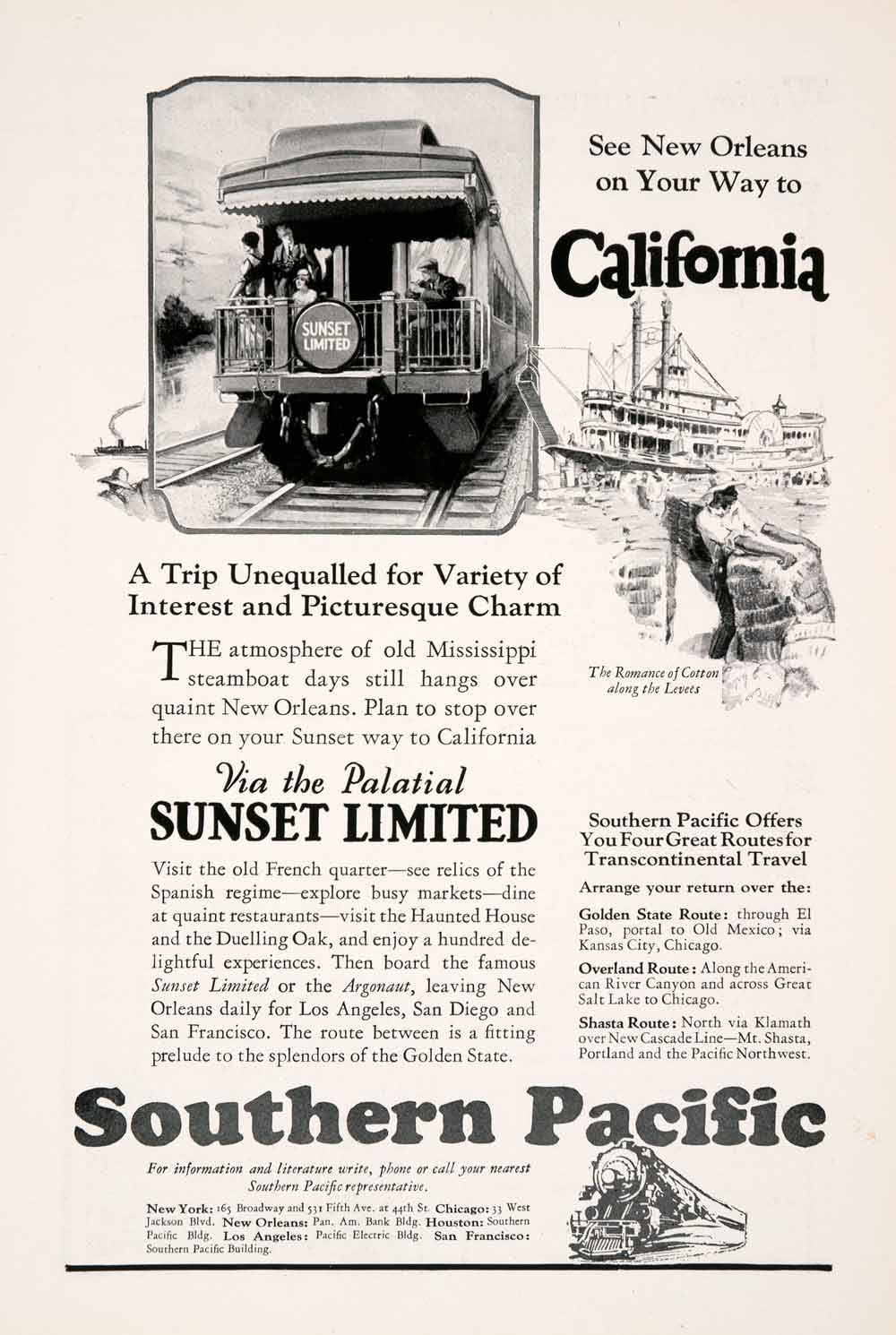 1927 Ad Southern Pacific Railroad Train California Sunset Limited Railway  NGM3