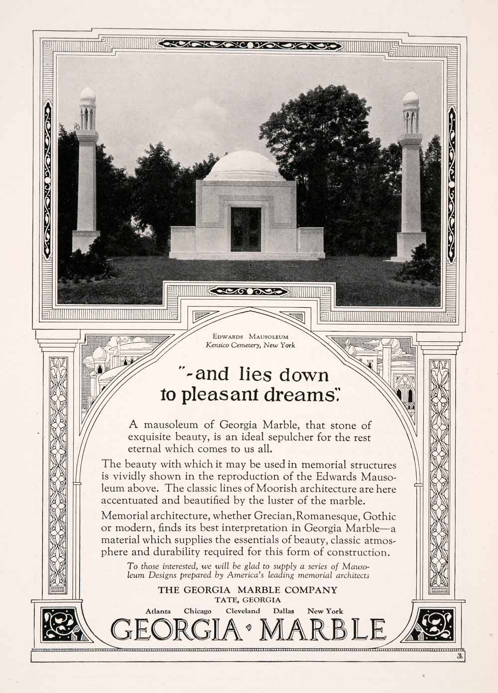 1929 Ad Georgia Marble Tate Moor Edwards Mausoleum Kensico Cemetery New NGM3
