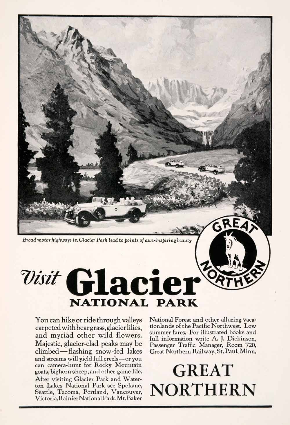 1929 Ad Great Northern Railway Train Glacier National Park Travel Antique NGM3