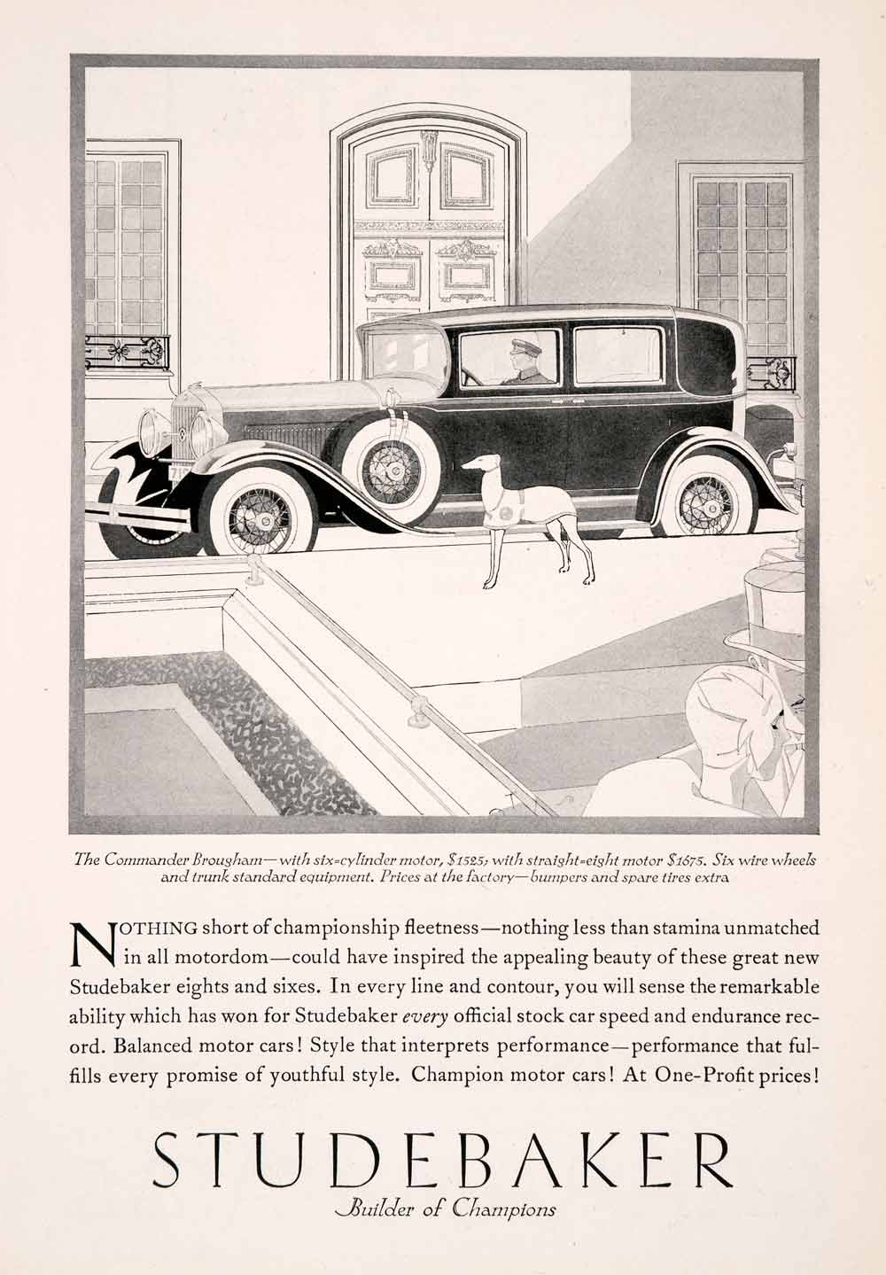 1929 Ad Antique Studebaker V6 Commander Brougham Car Laurence Fellows Art NGM3
