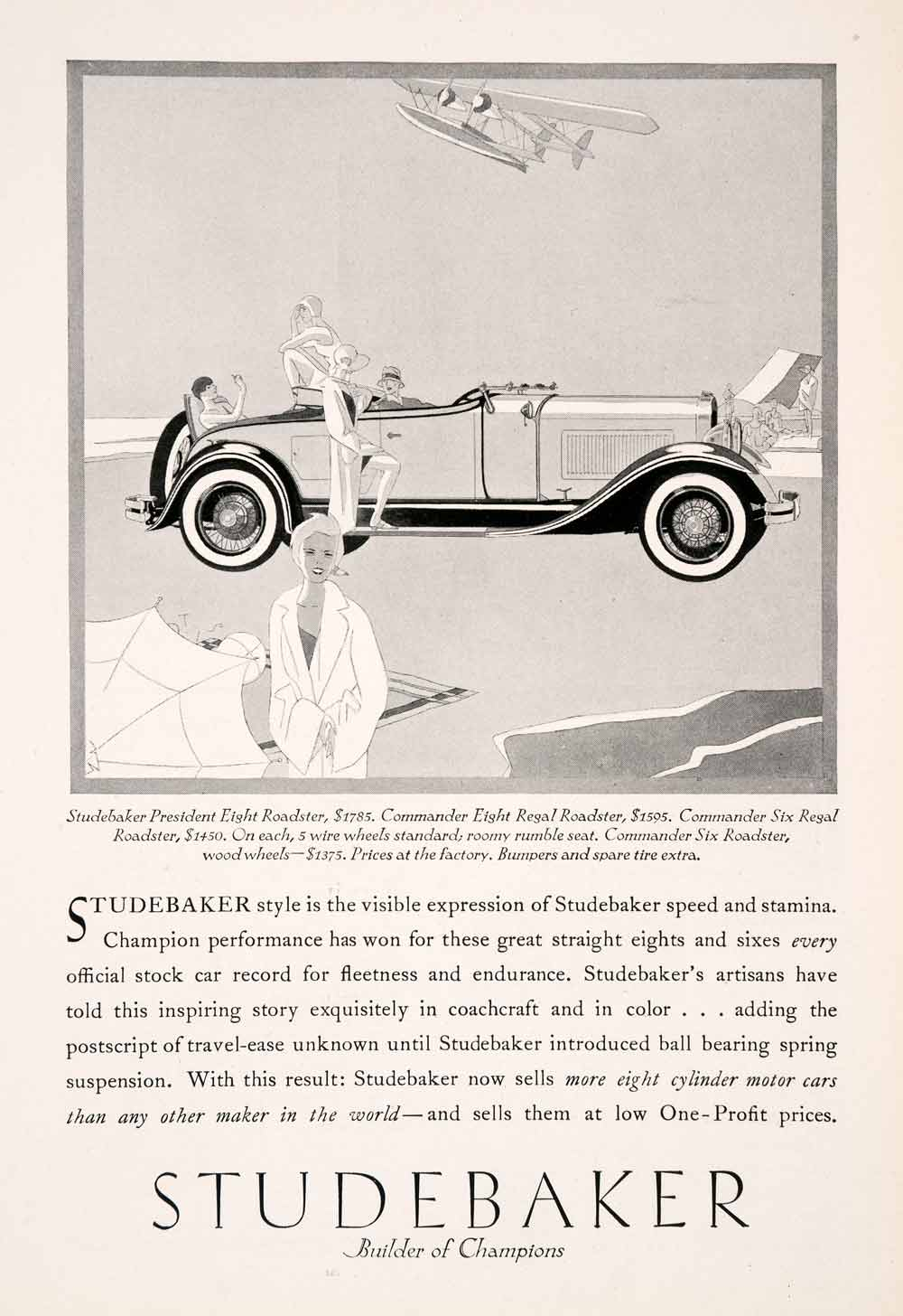 1929 Ad Antique Studebaker President Eight Roadster Convertible Automobile NGM3