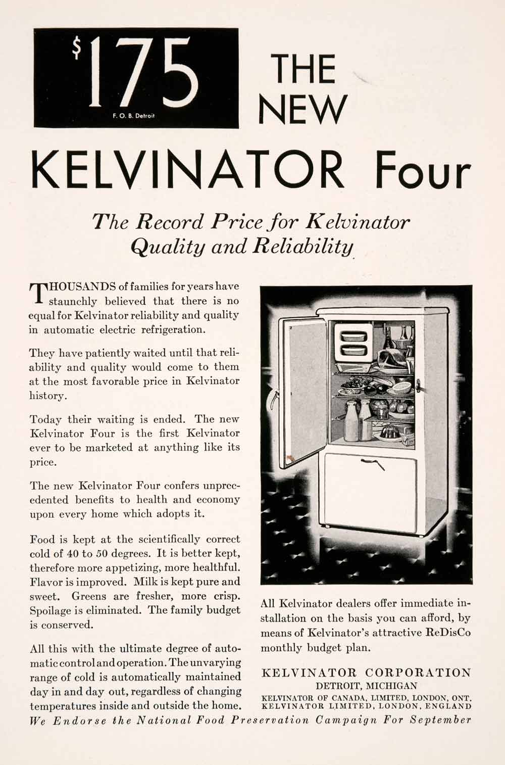 1929 Ad Antique Kelvinator Four Electric Refrigerator Home Kitchen NGM3