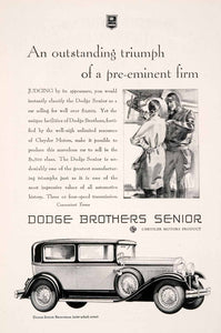 1929 Ad Antique Enclosed Dodge Brothers Senior Brougham Flight Pilot Gannam NGM3