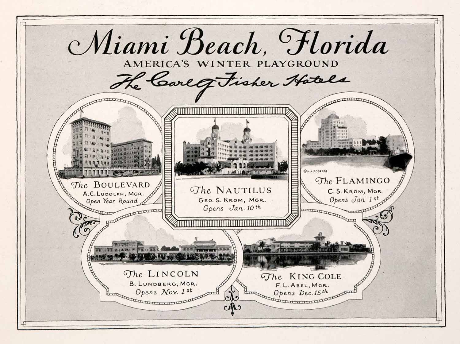 1926 Ad Miami Beach Florida Vacation Lodging Hotels Flamingo Nautilus King NGM3