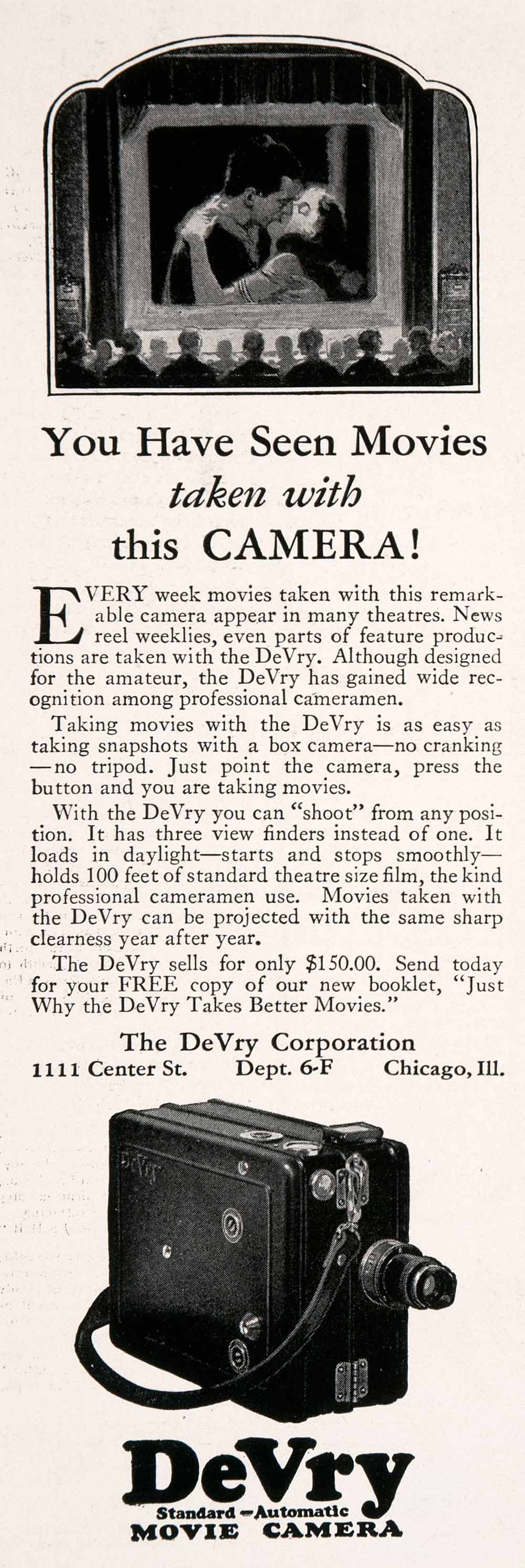 1927 Ad Antique DeVry Standard Automatic Movie Camera Camcorder Pricing NGM3