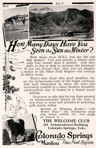 1928 Ad Colorado Springs Manitou Pikes Peak Travel Tourism Winter Vacation NGM3