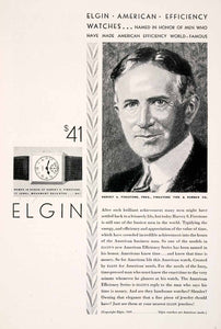 1929 Ad Antique Elgin American Efficiency Watch Harvey Firestone Tire NGM4