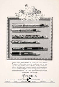 1929 Ad Antique Mabie Todd Swan Fountain Pens Models Writing British Empire NGM4