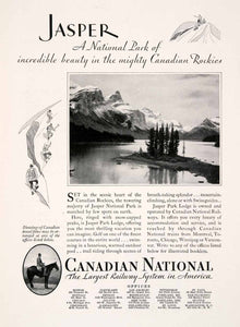 1931 Ad Canadian National Railway Train Travel Tourism Jasper Park Rock NGM4 - Period Paper
