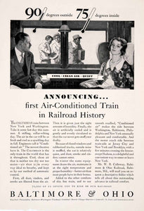 1931 Ad Baltimore Ohio Railroad Air Conditioned Columbian Train Travel NGM4