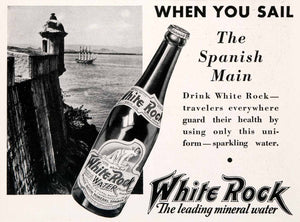 1931 Ad White Rock Mineral Water Glass Bottle Spanish Mail Sailboat Ship NGM4