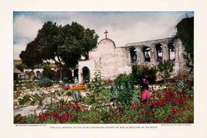 1929 Color Print San Juan Capistrano Spanish Mission Garden California NGM4